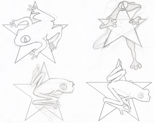Early concept drawings for just one of the symbols
