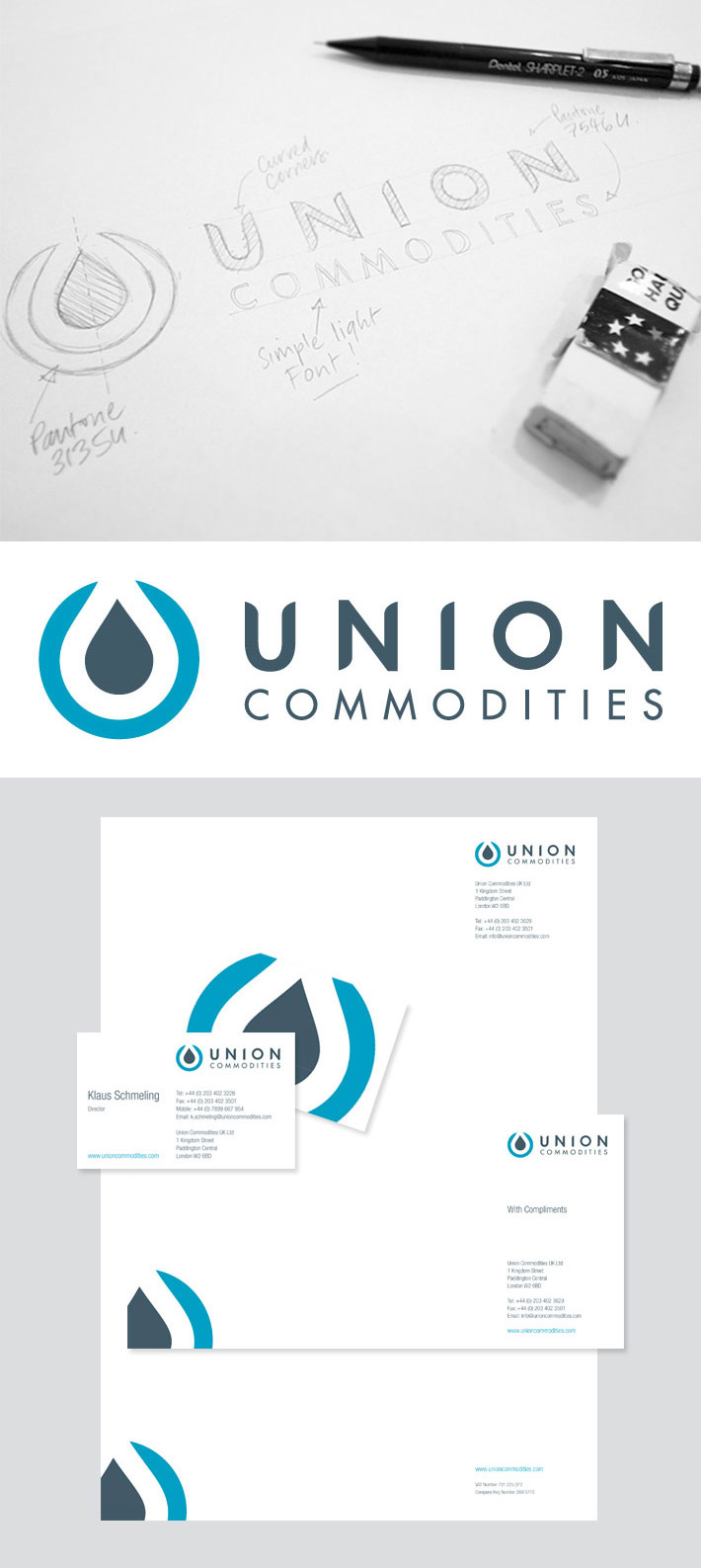 Union Commodities stationery and logo